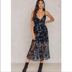 For Love & Lemons Botanic Black Midi Dress
